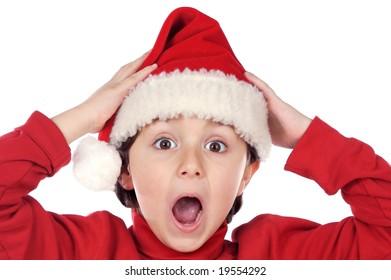 Photo of an adorable boy in christmas