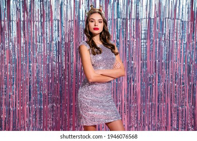 Photo of adorable narcissistic woman dressed glamour outfit gold crown arms crossed isolated pink glitter curtain background