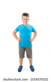 Photo of adorable young happy boy looking at camera.Isolated on white background
