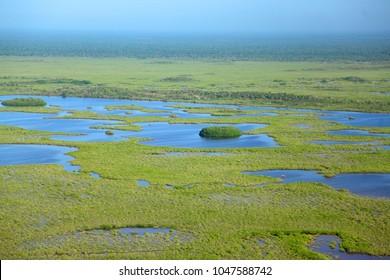 Photo aerial of the biosphere reserve Sian Ka'an, Quintana Roo, Mexico