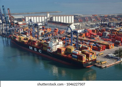 Photo aerial of ships and containers in the port of Veracruz, Mexico. 20 January 2013