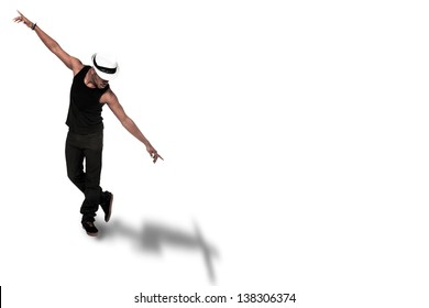 photo of afro american dancer over white isolated background