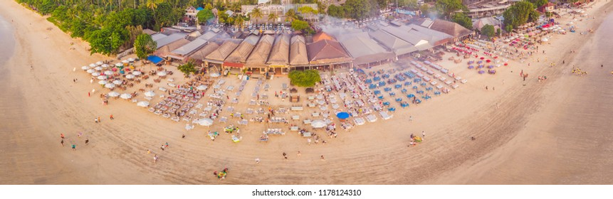 Photo from the air, from the drone Balinese Jimbaran beach famous for it's perfect sea food restaurants
