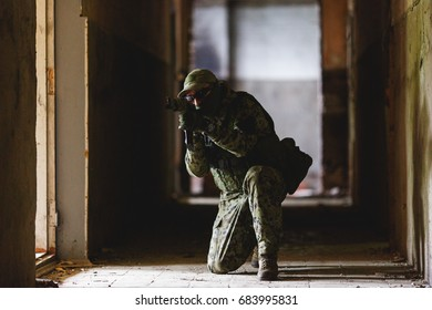 Photo airsoft players on assignment