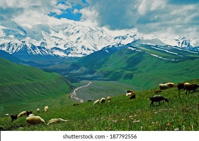 A photo of Alay valley, Kyrgyzstan, stylized and filtered to look like an oil painting. In the foreground steppe, and sheep grazing, in the background spectacular Pamyr mountains and clouds