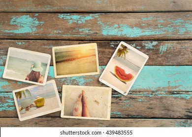 Photo album remembrance and nostalgia of journey honeymoon trip in summer on wood table. instant photo of vintage camera - vintage and retro style