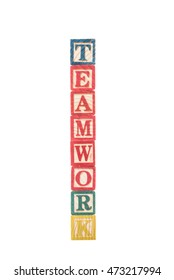 photo of a alphabet blocks spelling TEAMWORK isolate on white background