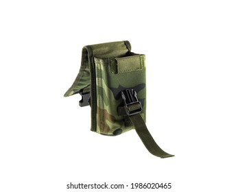 Photo of ammo pouch. military army ammo bag isolated on a white background.