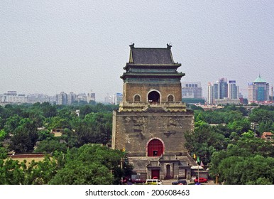 photo of ancient Bell Tower with modern Beijing in background, China, stylized and filtered to look like an oil painting