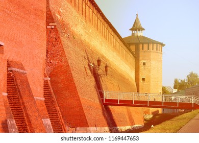 Photo of the ancient Russian tower in the Kremlin in the sunny day