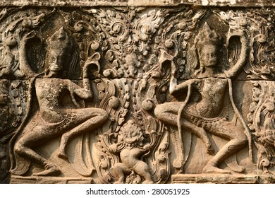 Photo from Angkor Wat world heritage site, Apsara Carvings at Angkor Wat Wall, Cambodia