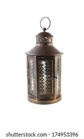 Photo of antique brass Japanese lantern isolated on white background