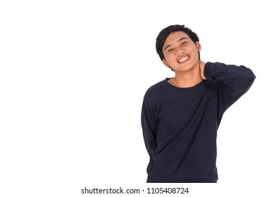 The photo of An Asian shy man hurts his neck.