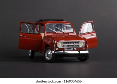 Photo of the assembled Renault 4 1:24 scale model car isolated on gray background, Kazakhstan, Almaty, June, 09, 2018