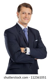 Photo of an attractive businessman smiling over a white background.