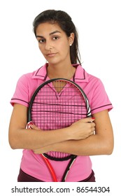Photo of a attractive female tennis player.