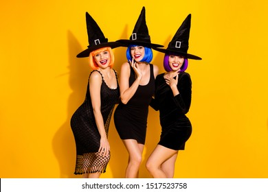 Photo of attractive pretty joy fun funky with orange violet blue hairstyle color fit ladies red lipstick saying welcome to you glad to see at midnight meeting isolated bright shiny glossy background