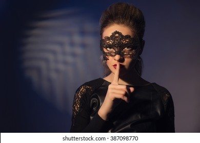 Photo of attractive woman expression silent, picture of mysterious girl show hush gesture, closeup portrait of young mum sign shh, image of female with finger near lips, concept of silence