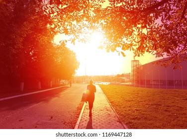 Photo of an autumn landscape at sunset with a beautiful girl in the park