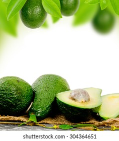 Photo of avocado with leaves and slice with white space for text