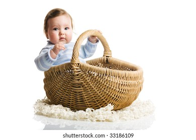 A photo of baby in the basket, isolated