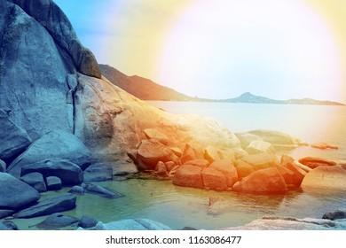 Photo background landscape sunset at the sea