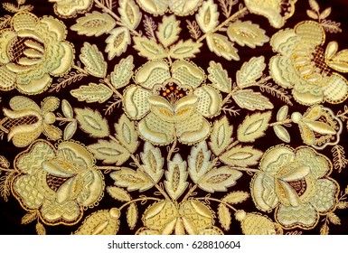 Photo background Russian ornament gold embroidery fabric