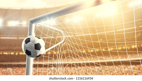 Photo of the ball that flies into a goal on a professional soccer stadium while the sun shines. Stadium and crowd are made in 3D.