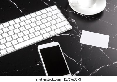 Photo of bank card on marble. Template for branding identity isolated on marble background. For graphic designers presentations and portfolios marble premium luxury mock-up.