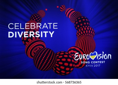 """Photo of banner with official logo of Eurovision Song Contest 2017 (ESC) depicting a traditional Ukrainian necklace,and slogan """"Celebrate Diversity"""",during ESC draw in Kiev,Ukraine,31 January 2017"""
