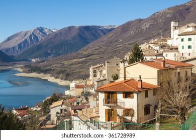 Photo of Barrea lake in Abruzzo, Italy.