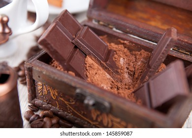 photo of bars of chocolate in a dower chest