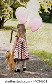 Photo based illustration of a little girl dragging her teddy bear and carrying a bunch of white and pink balloons.