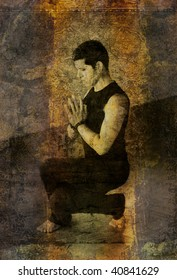 """Photo based illustration of a man in a deep """"eagle"""" squat with hands in prayer mudra."""