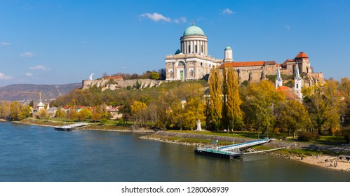Photo of Basilica on the hills of city Esztergom in Hungary outdoor.