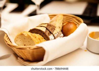 photo of basket with bread in the restaurant