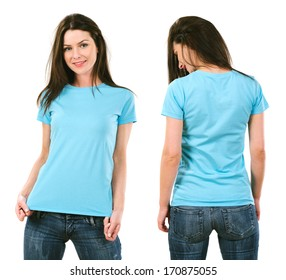 Photo of a beautiful brunette woman with blank light blue shirt. Ready for your design or artwork.