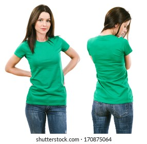 Photo of a beautiful brunette woman with blank green shirt. Ready for your design or artwork.