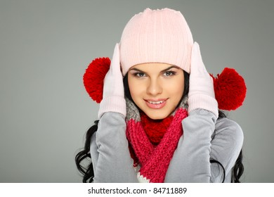 A photo of beautiful girl is in winter clothes