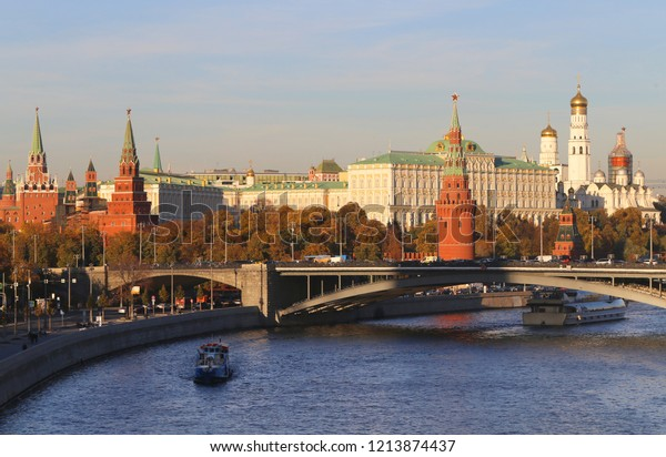 Photo of a beautiful Kremlin in Moscow lit by the sun