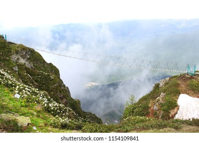 Photo of beautiful mountains in spring with cloudiness