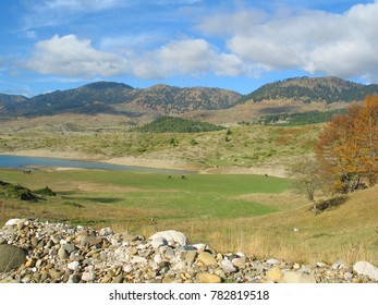 Photo from beautiful nature of artificial lake Aoos with beautiful scattered clouds, Northern Greece