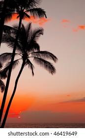 photo of a beautiful orange sunset over ocean