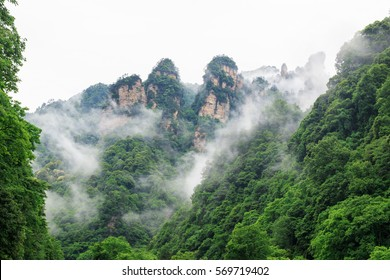 Photo of Beautiful Rock Mountains with Green Trees Surrounded by White Mist Clouds. Green Mountain Landscape
