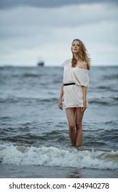 photo of beautiful sensual girl in water