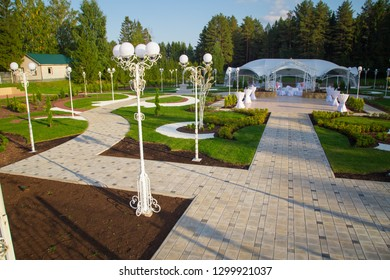 Photo of the beautiful wedding pavilion among forest