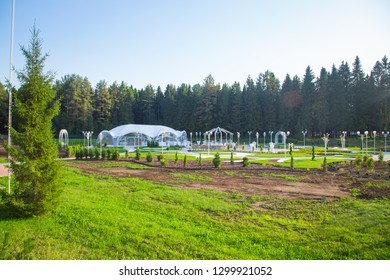 Photo of the beautiful wedding tent among the forest