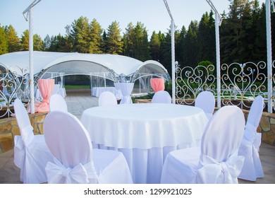 Photo of the beautiful white wedding gazebo
