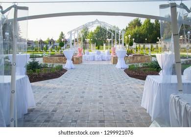 Photo of the beautiful white wedding terrace