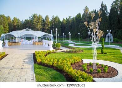 Photo of the beautiful white wedding veranda